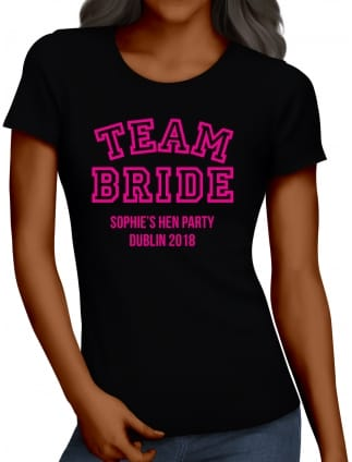 Team Bride, Cheerleader Style Personalised Hen Party T-Shirts