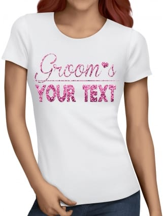 "Glitter ""Groom's Your Text"" Hen Party T-Shirts"