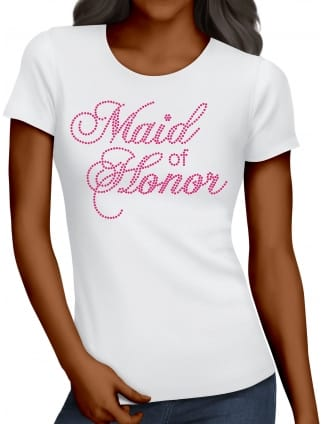 Maid of Honor Pink Diamante/Rhinestone Hen Party T-Shirts
