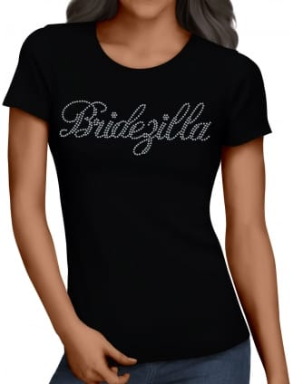 Bridezilla Silver Diamante/Rhinestone Hen Party T-Shirts