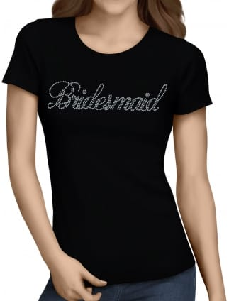Bridesmaid Silver Diamante/Rhinestone T-Shirts