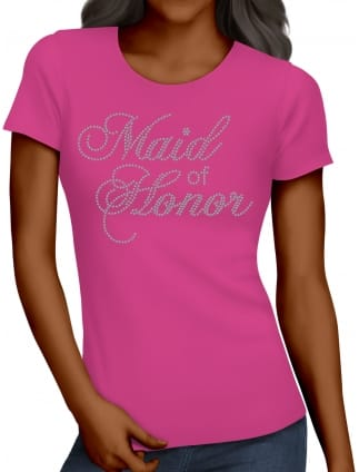 Maid of Honor Diamante/Rhinestone Hen Party T-Shirts