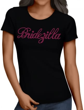 Bridezilla Pink Diamante/Rhinestone Hen Party T-Shirts