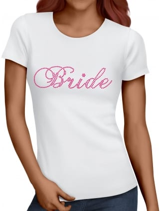 Bride To Be Pink Diamante/Rhinestone Hen Party T-Shirts