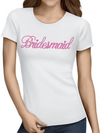 Bridesmaid Pink Diamante/Rhinestone Hen Party T-Shirts