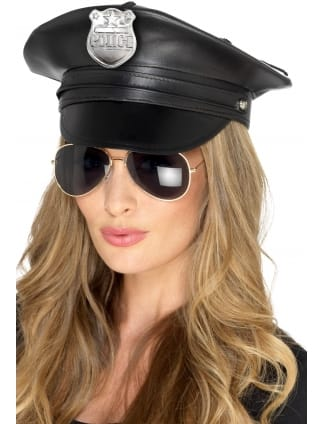 Deluxe Police Hat Faux Leather