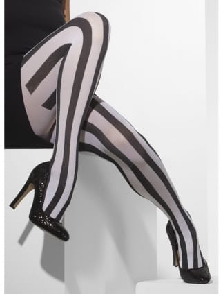 Black/White Vertical Stripe 20's Gangster Style Tights