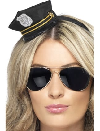Fancy Dress Black Mini Police Hat