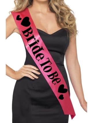 Hot Pink Bride To Be Sash with Heart Design