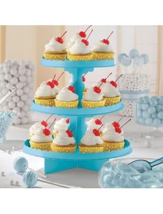 Caribbean Blue Three Tier Cake Stand