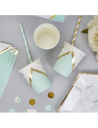 Mint and Marble Colour Block Cups