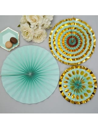 Mint and Gold Concertinaed Pinwheels