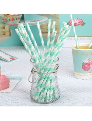 Teal Paper Striped Straws