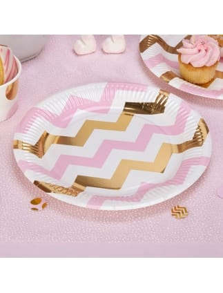 Pink and Gold Chevron Plate