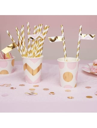 Gold White and Pink Striped Flag Straws