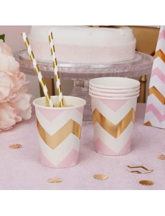 Gold and Pink Chevron Cups