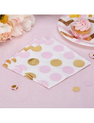Gold and Pink Spotted Napkins