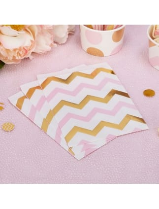 Gold and Pink Chevron Sweet Bags
