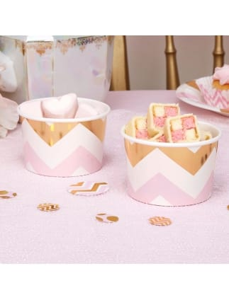 Gold and Pink Chevron Tubs
