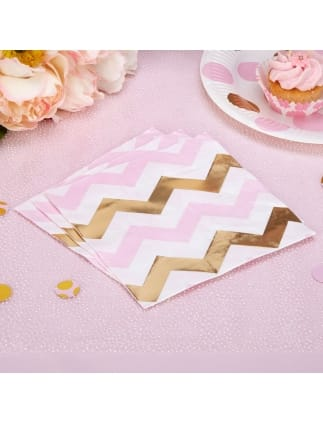 Gold and Pink Chevron Napkins