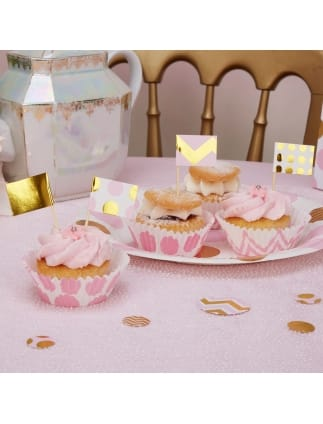 Gold and Pink Cupcake Flags