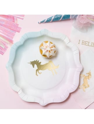 We Heart Unicorns Pastel Paper Plates