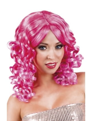 Hot Pink Cocktail Curly Wig