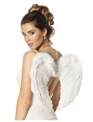 White Angelic Feathered Wings