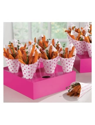 Snack Cones Polka Dot Pink with Tray (Pack of 40 Cones)