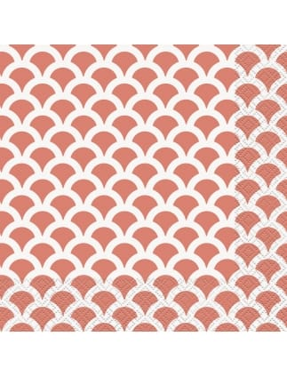 Coral Scallop Napkins (Pack of 16)