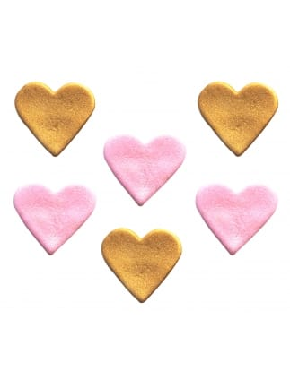 Shimmering Pink and Gold Hearts Sugarcraft Toppers