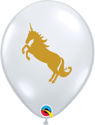 25 White and Yellow Unicorn Balloons