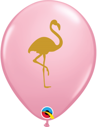 25 Pink and Gold Flamingo Balloons
