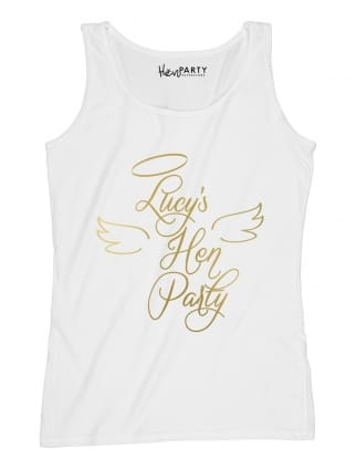 Angel Personalised Hen Party T-Shirt Metallic Gold