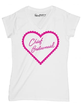 Frilly Heart 'Chief Bridesmaid' Hen Party T-Shirts