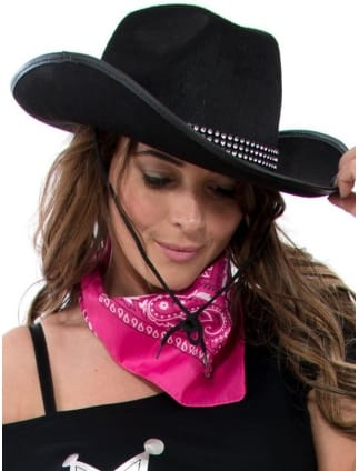 5f47c207a85 Hen Party Black Cowgirl Hat With Diamante Rim