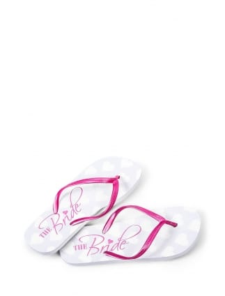 Bride Pink and White Flip Flops
