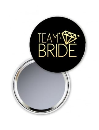 Team Bride Hen Party Pocket Mirror Black