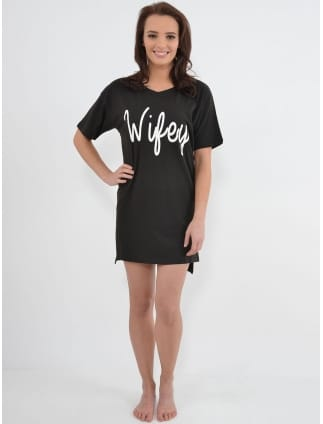 Wifey Nightshirt Black and White