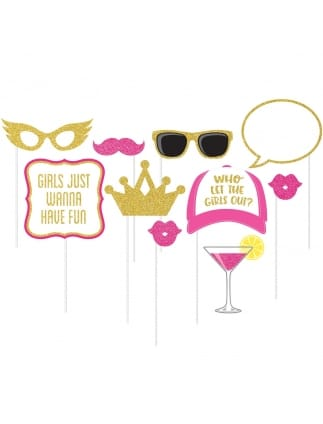 Pink and Gold Glittery Girls Night Photo Props