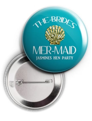 Mermaid Shell Hen Party Personalised Badge