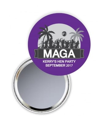 Beach Party Personalised Hen Party Pocket Mirror