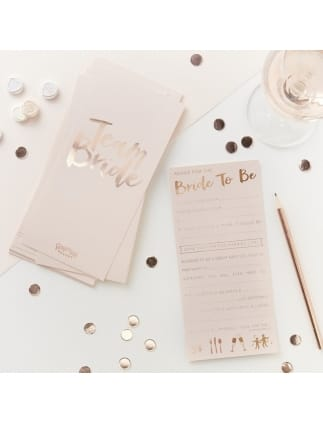 Pink and Rose Gold Advice For the Bride-To-Be Cards