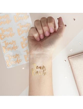 Team Bride Rose Gold Temporary Tattoos