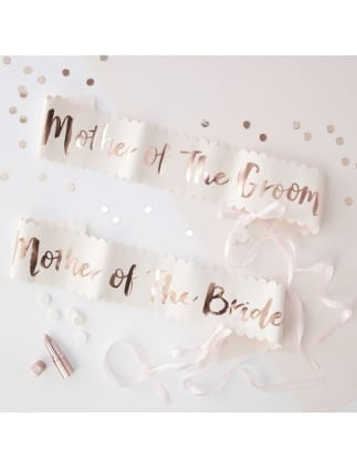 2 Pack Team Bride Pink and Rose Gold Foiled Mother of the Bride/Groom Sashes
