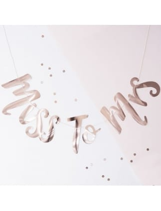 Team Bride Miss to Mrs Rose Gold Foiled Bunting