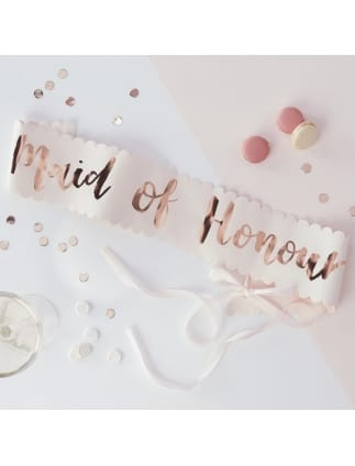 Team Bride Pink and Rose Gold Maid of Honour Sash