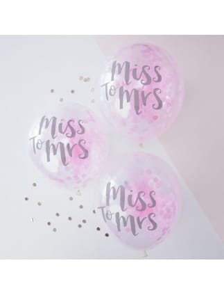 Team Bride MISS TO MRS Pink Confetti Balloons