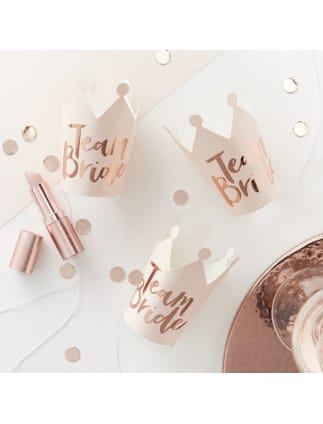 Team Bride Pink and Rose Gold Foiled Crowns