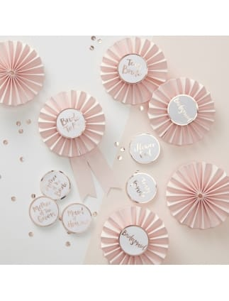 Team Bride Pink and Rose Gold Badges